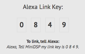 Get your miniDSP Alexa link key