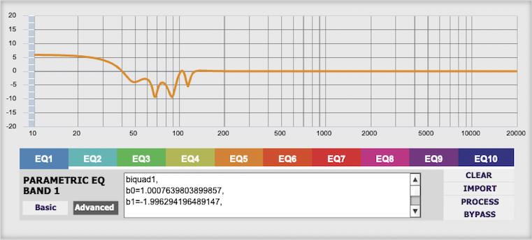 miniDSP nanoAVR parametric EQ screen after loading filters