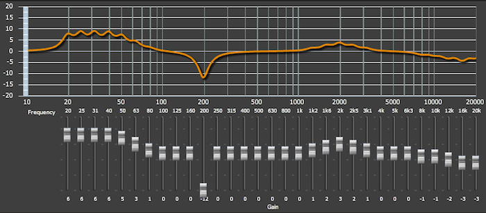 Setting graphic EQ in the miniDSP plugin