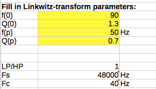 Linkwitz Transform parameters
