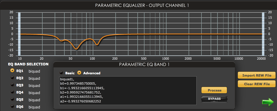 miniDSP parametric EQ screen after loading filters