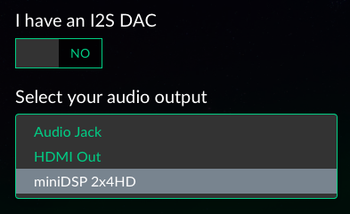 Select the miniDSP 2x4 HD or DDRC-24 in Volumio setup wizard