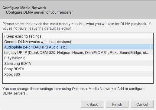 Configure media network for JRiver to miniDSP SHD