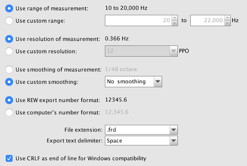 Export measurements for MSO