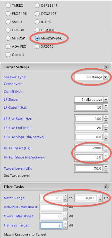 REW settings for full-range measurement
