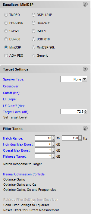 REW equalization calculation settings