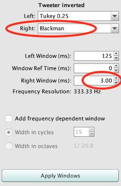 Impulse response window settings