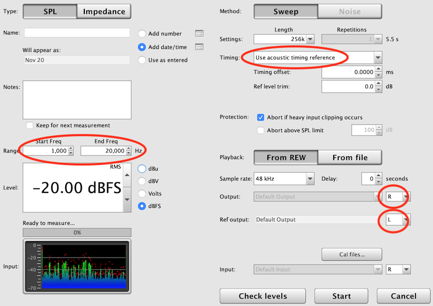 Measurement settings to measure time delay from tweeter to midrange