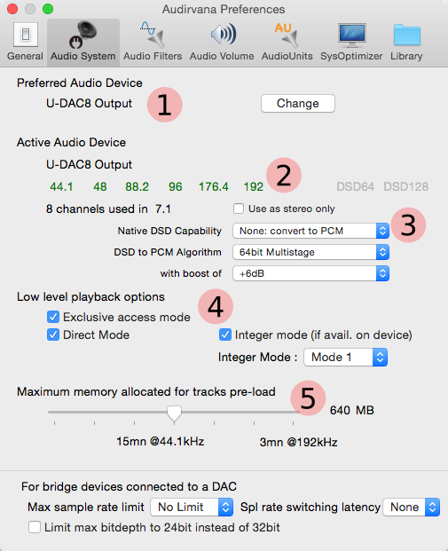 Audirvana+ Audio System configuration for U-DAC8