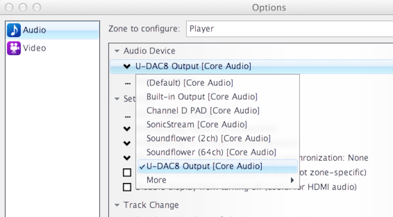 JRiver Media Center Audio System configuration for U-DAC8