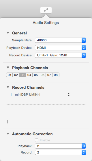 UMIK-1 audio settings in FuzzMeasure Pro