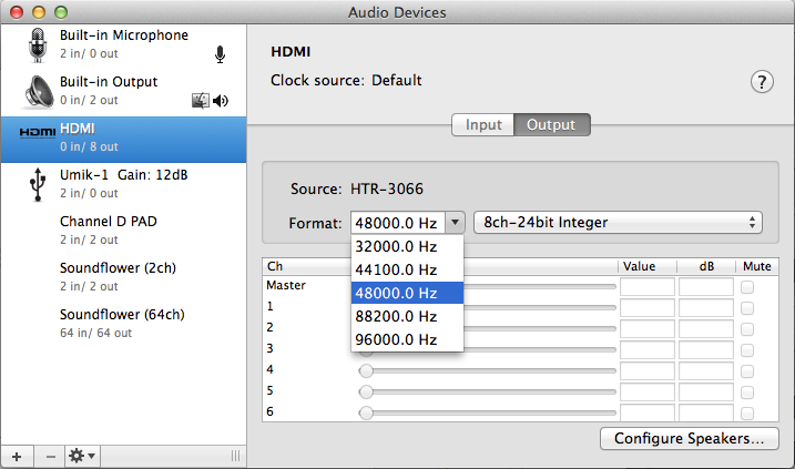 HDMI output settings in FuzzMeasure Pro