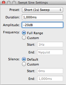 UMIK-1 sweep settings in FuzzMeasure Pro